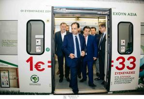 """Ο Υπουργός Υποδομών και Μεταφορών Χρήστος Σπίρτζης εγκαινιάζει τον """"Συρμό της Ανακύκλωσης"""""""
